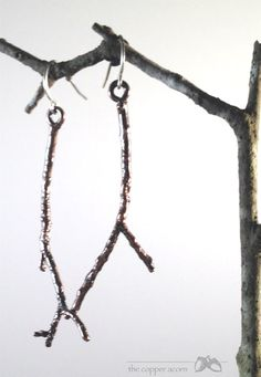 Gorgeous Bronze Southern Live Oak Twig Earrings by copperacorns