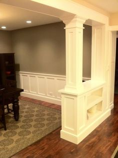 Bookcase columns -- this is similar to what we are doing between the dining and front room... and chair molding