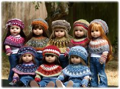 """Debonair Designs specializes in Hand Knitted Doll Clothes & Knitting Patterns designed to fit American Girl Dolls, 18"""" Gotz Dolls, Kidz 'n Cats Dolls"""