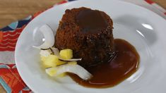 Steamed carrot cake with warm toffee sauce