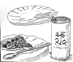 Food and Drink, L'Ardeche. Pen drawing 1997