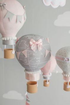 Hot Air Balloon Baby Mobile Elephant Baby by sunshineandvodka Travel Theme Nursery, Nursery Themes, Nursery Decor, Mobiles, Little Elephant, Baby Elephant, Bolo Da Minnie Mouse, Natural Nursery, Origami Mobile