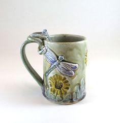 Pottery ceramic porcelain coffee or tea mug. Flower mugs hand built by Botanic2Ceramic/  The Daisy mug is made out of porcelain with soft pastel