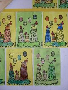 - lesptitsbricoleurss jimdo page! Spring Art Projects, Easter Projects, Easter Arts And Crafts, Kindergarten Art Lessons, Easter Activities, Elementary Art, Art For Kids, Sissi, Preschool