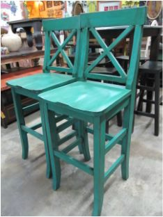 distressed barstools -- need these in Red!