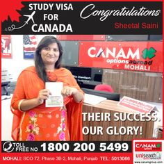 It is a matter of pride & privilege for #CanamConsultants team to create hundreds of success stories each month! We are proud to help the youth in every small aspect relating to #HigherEducationAbroad #StudyVisa_Application #EducationGuidance. Meet us in any of the 19 office across India and create your glory with #CanamGroup #CanamConsultants #StudentVisa #StudyVisa #StudyVisaExpert