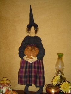 Primitive fabric doll, witch, pumpkin Craft, special order finished doll