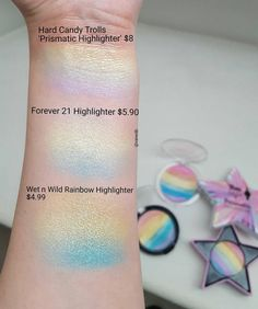 """281 Likes, 19 Comments - Vanessa (@vanedb) on Instagram: """"Comparison of all the Rainbow Highlighters I own ❤.I gotta say I love the Forever21 and Wet n…"""""""