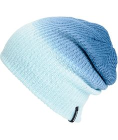 Update your beanie game with a blue to light blue fade design and a slouchy ribbed knit construction.