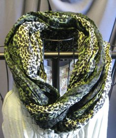Sale green leopard scarf UPCYCLED by ScarfLadyDesigns on Etsy, $25.00