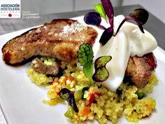Pato arábigo es el pincho que presenta el Restaurante El Chupinazo para la #SemanadelPincho Pamplona, Risotto, Grains, Rice, Ethnic Recipes, Food, Restaurants, Meal, Eten