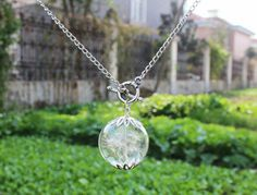 Real Dandelion Seeds Glass Orb Wish Silver Necklace (1409) on Wanelo