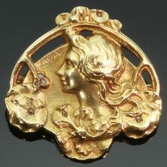 Art Nouveau floral gold pin Lady profile signed Zacha
