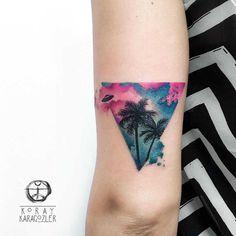 triangle tattoo palm trees with UFO