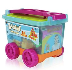 62 Pieces Plastic Play and Learn Childrens Colored Blocks in Take along wagon Large Size Colored Builders Bloks Brilliant Basics Babys First Blocks -- You can get more details by clicking on the image.