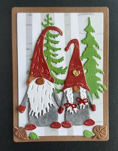 Homemade Christmas Cards, Vintage Christmas Cards, Christmas Greetings, Holiday Cards, Christmas Gnome, Winter Christmas, Winter Karten, Embossed Cards, Christmas Paintings
