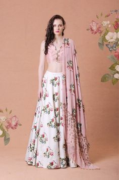 Gold embroidered crop top with printed lehenga and embroidered dupatta Material: Georgette, Shantoon Dry Clean Only Raw Silk Lehenga, Floral Lehenga, Lehenga Choli, Anarkali, Indian Dresses, Indian Outfits, Shrug For Dresses, Long Dresses, Indian Bridesmaids