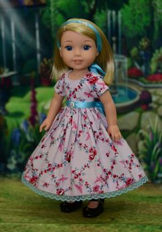 Roses & Sparrows Dress Outfit for American Girl Wellie Wishers Hearts for Hearts #LuminariaDesigns