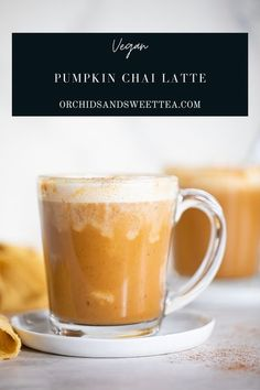 This Vegan Pumpkin Chai Latte is made with only a handful of ingredients and is the perfect warmth + coziness to any day. Literally whipped together in a few short minutes, this homemade latte comes fully dairy-free, vegan, + gluten-free. Enjoy this coffee-free cup of goodness every morning. #pumpkinlatte #veganlatte #pumpkinchailatte #chai #fallrecipes #spices #pumpkinspice #dairyfree #drinks #easy #pumpkin #veganrecipes #vegandrinks #chaitea #sweet #plantbased