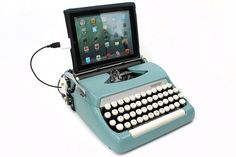 USB typewriter computer keyboard that transforms modern technology into a vintage typewriter.