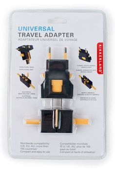 Universal Travel Adapter Power Outlet Plug Converter from Kikkerland World-Wide Compatibility in more than 150 countries. UK, Hong Kong, India, Europe, South Africa, Middle East, Australia, New Zealan