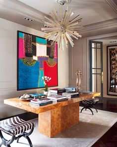 burlwood table, sputnik chandelier