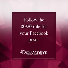 The rule 80/20 implies that 80% of the post should be social and 20% should applicable to the products/services. #Tuesdaytip