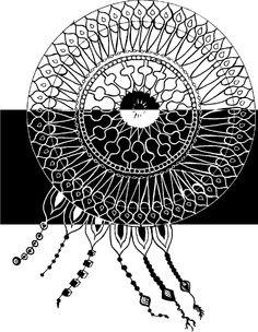 Black and white. Dreamcatcher