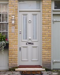 Victorian Front Doors are extremely popular, at London Door Company we have been handcrafting high quality doors for over 30 years. Double Front Entry Doors, Cottage Front Doors, Victorian Front Doors, Yellow Front Doors, Wooden Front Doors, Painted Front Doors, Cottage Door, Victorian Terrace, Front Door Design