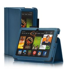 """TNP Kindle Fire HDX 7 Case (Dark Blue) - Slim Fit Synthetic Leather Folio Cover Stand with Stylus Holder for Amazon Kindle Fire HDX 7\"""" Tablet 2013 Model *** Read more  at the image link."""