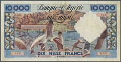 Banknotes - Africa, Michel Pick 110 - Algeria: 10000 Francs 1956 P. 110 in nice crisp condition with a center fold and a few pinholes at left but still crispness in paper and bright colors. Condition F+ to VF-. (T)