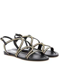 53a181d18948  jimmychoo  shoes  sandals Leather Sandals Flat