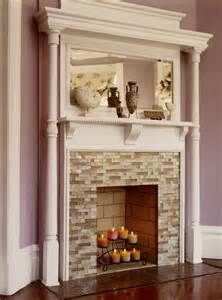 Glass Tile Fireplace DIY mantel with glass tilePin by Leslie