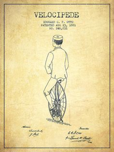 Bicycle Patent Poster featuring the drawing Velocipede Patent Drawing From 1881…
