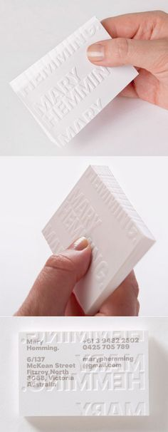 Beautifully Subtle Blind Embossed White Business Card Design