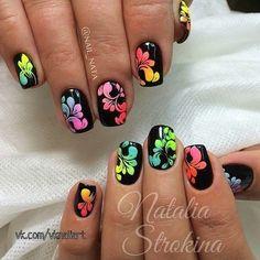 Neon Nail Art, Rose Nail Art, Rose Nails, Flower Nail Art, Neon Nails, 3d Nails, Neon Nail Designs, Acrylic Nail Designs, Acrylic Nails