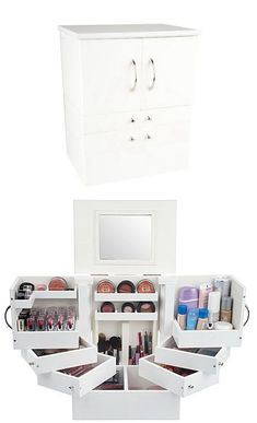 Qvc Makeup Organizer Prepossessing Luxury Deluxe Wood Cosmetic Box Wmirrorlori Greiner  Pinterest