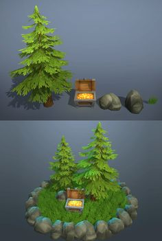 """""""A Piece of Nature"""" is a part of the Lowpoly Forest Ruins.  In this package you will find:  - Pine tree, 526 tris; - Chest with gold - 654 tris; - 2 rocks, 177 and 171 tris; - Tileable grass texture 2048x2048; - Grass terrain detail mesh.  All models have hand painted textures, normal and specular maps."""
