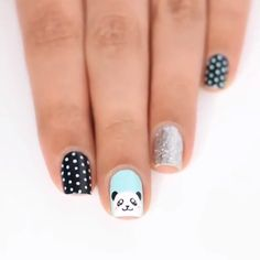 Cute panda nail art on your natural nails is goals! Beautiful and unique stamp nail art By: kellimarissa , , , , You can surely pull off this acrylic color block design! Credits: 45 110 best natural short square nails design for Fall – … Panda Nail Art, Animal Nail Art, Pig Nail Art, Mickey Mouse Nail Art, Animal Nail Designs, Nail Art Designs Videos, Nail Art Videos, Purple Nails, Green Nails
