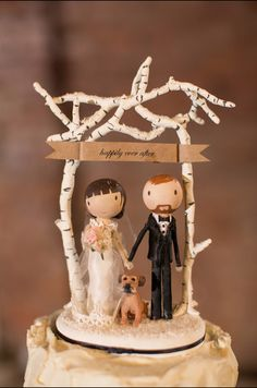 Custom rustic wedding cake topper with dog