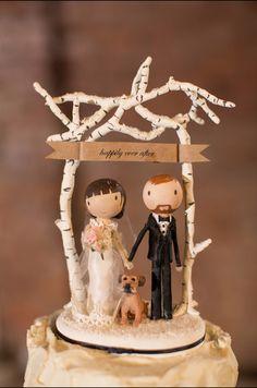 Custom rustic wedding cake topper with dog