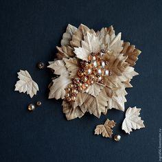 Купить Брошь из натуральной кожи Осенняя ягодка - 3 - украшения из кожи, брошь из кожи