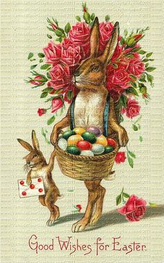 Attic Easter Digital Set 838 Victorian Roses Tree Rabbit Eggs