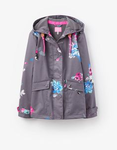 Joules 123907 Womens Waterproof Jacket in Slate Posy in Clothes, Shoes & Accessories, Women's Clothing, Coats & Jackets