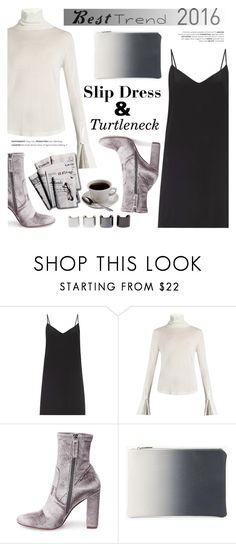 """Best Trend of 2016: Slip Dress & Turtleneck Sweater"" by helenevlacho ❤ liked on Polyvore featuring Raey, Chloé, Steve Madden, Boohoo, 7 For All Mankind, contestentry, slipdress and besttrend2016"