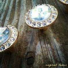 Vintage Inspired Crystal Knob, Round Gold Mounting Pull, Decorative Glass Hardware