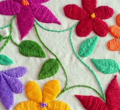 See related links to what you are looking for. Hand Embroidery Flowers, Hand Embroidery Stitches, Embroidery Needles, Crewel Embroidery, Hand Embroidery Designs, Embroidery Techniques, Embroidered Flowers, Embroidery Patterns, Mexican Embroidery