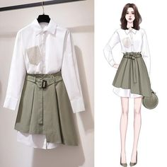Fashion Drawing Dresses, Fashion Illustration Dresses, Korean Fashion Dress, Kpop Fashion Outfits, Girls Fashion Clothes, Cute Fashion, Girl Fashion, Fashion Dresses, Cute Casual Outfits