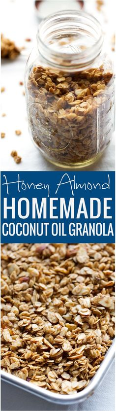 Honey Almond Coconut Oil Granola - Crunchy granola loaded with almonds and sweetened with honey. So good! | Littlespicejar.com