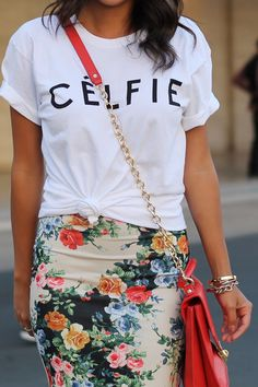 20 Ways to Wear Florals | Be bold with a graphic tee